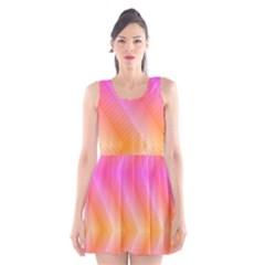 Pattern Background Pink Orange Scoop Neck Skater Dress