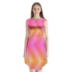 Pattern Background Pink Orange Sleeveless Chiffon Dress