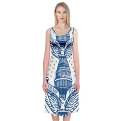 Presidential Inauguration USA Republican President Trump Pence 2017 Logo Midi Sleeveless Dress