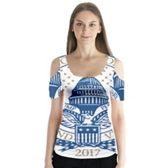 Presidential Inauguration USA Republican President Trump Pence 2017 Logo Butterfly Sleeve Cutout Tee