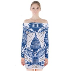 Presidential Inauguration USA Republican President Trump Pence 2017 Logo Long Sleeve Off Shoulder Dress