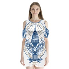 Presidential Inauguration USA Republican President Trump Pence 2017 Logo Shoulder Cutout Velvet  One Piece
