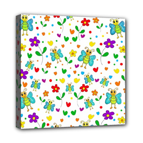 Cute butterflies and flowers pattern Mini Canvas 8  x 8