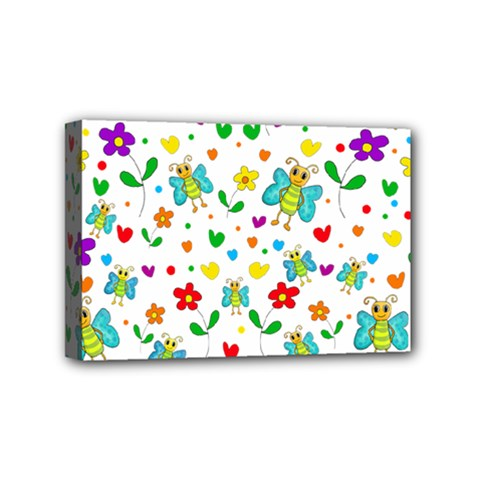 Cute butterflies and flowers pattern Mini Canvas 6  x 4
