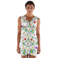 Cute butterflies and flowers pattern Wrap Front Bodycon Dress