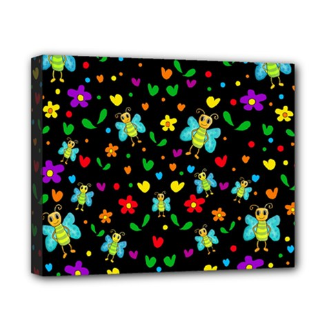 Butterflies and flowers pattern Canvas 10  x 8