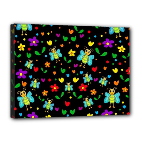 Butterflies and flowers pattern Canvas 16  x 12