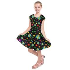 Butterflies and flowers pattern Kids  Short Sleeve Dress