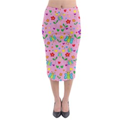 Cute butterflies and flowers pattern - pink Midi Pencil Skirt