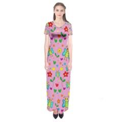 Cute butterflies and flowers pattern - pink Short Sleeve Maxi Dress