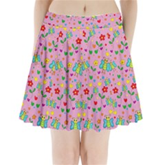 Cute butterflies and flowers pattern - pink Pleated Mini Skirt