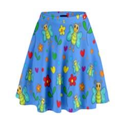 Cute butterflies and flowers pattern - blue High Waist Skirt