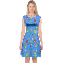 Cute Butterflies And Flowers Pattern   Blue Capsleeve Midi Dress