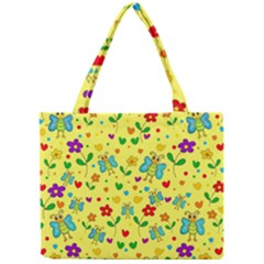 Cute Butterflies And Flowers   Yellow Mini Tote Bag