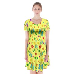 Cute butterflies and flowers - yellow Short Sleeve V-neck Flare Dress