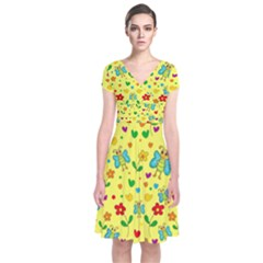 Cute butterflies and flowers - yellow Short Sleeve Front Wrap Dress