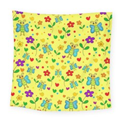 Cute Butterflies And Flowers   Yellow Square Tapestry (large)