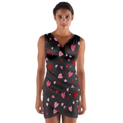 Hearts pattern Wrap Front Bodycon Dress