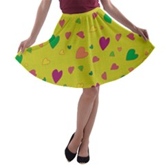 Colorful hearts A-line Skater Skirt