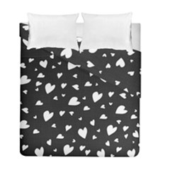 Black And White Hearts Pattern Duvet Cover Double Side (full/ Double Size)