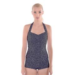Gray texture Boyleg Halter Swimsuit