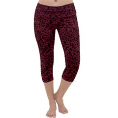 Red coral pattern Capri Yoga Leggings