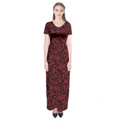 Red coral pattern Short Sleeve Maxi Dress