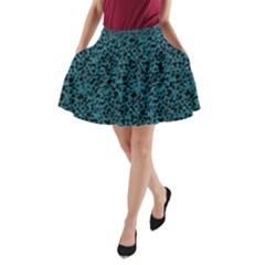 Blue coral pattern A-Line Pocket Skirt