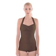 Gold texture Boyleg Halter Swimsuit