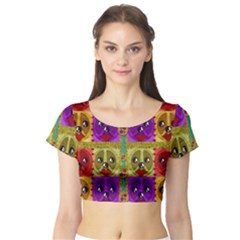 Peace Dogs Short Sleeve Crop Top (tight Fit)