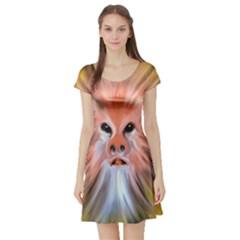 Monster Ghost Horror Face Short Sleeve Skater Dress