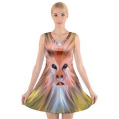 Monster Ghost Horror Face V Neck Sleeveless Skater Dress