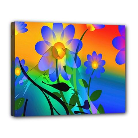 Abstract Flowers Bird Artwork Canvas 14  x 11