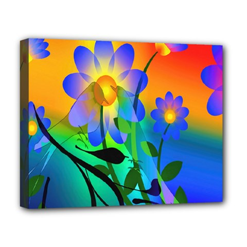 Abstract Flowers Bird Artwork Deluxe Canvas 20  x 16