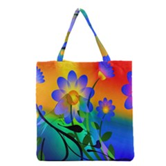 Abstract Flowers Bird Artwork Grocery Tote Bag