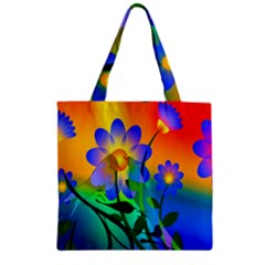 Abstract Flowers Bird Artwork Zipper Grocery Tote Bag