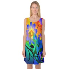Abstract Flowers Bird Artwork Sleeveless Satin Nightdress