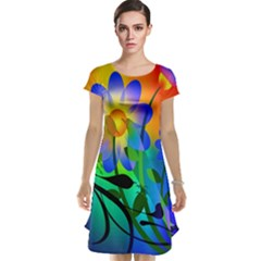 Abstract Flowers Bird Artwork Cap Sleeve Nightdress