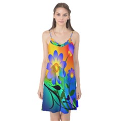 Abstract Flowers Bird Artwork Camis Nightgown