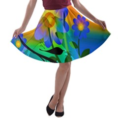 Abstract Flowers Bird Artwork A Line Skater Skirt