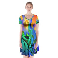 Abstract Flowers Bird Artwork Short Sleeve V-neck Flare Dress