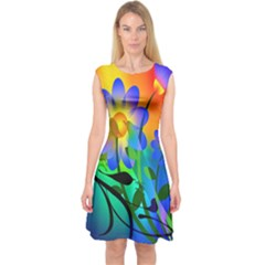 Abstract Flowers Bird Artwork Capsleeve Midi Dress