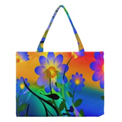 Abstract Flowers Bird Artwork Medium Tote Bag