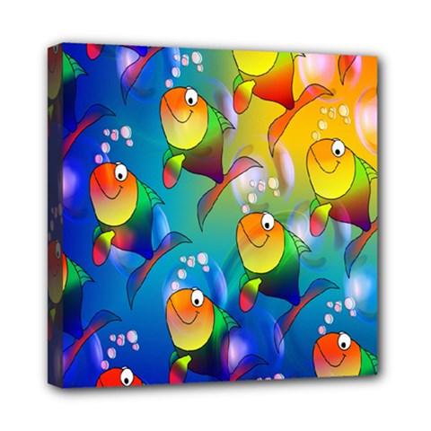 Fish Pattern Mini Canvas 8  X 8
