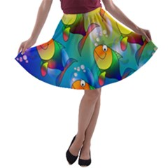 Fish Pattern A Line Skater Skirt