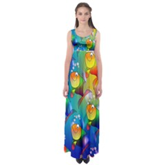 Fish Pattern Empire Waist Maxi Dress