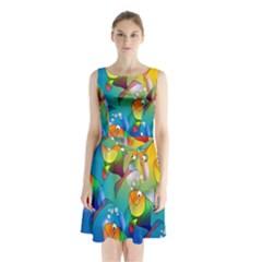 Fish Pattern Sleeveless Chiffon Waist Tie Dress
