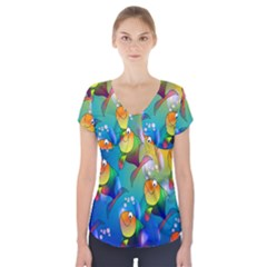 Fish Pattern Short Sleeve Front Detail Top