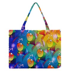 Fish Pattern Medium Zipper Tote Bag