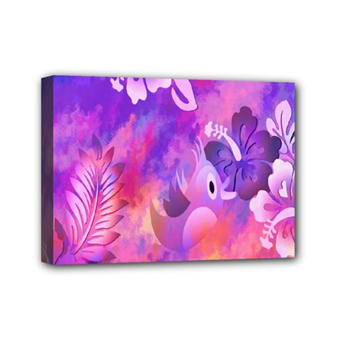 Abstract Flowers Bird Artwork Mini Canvas 7  x 5